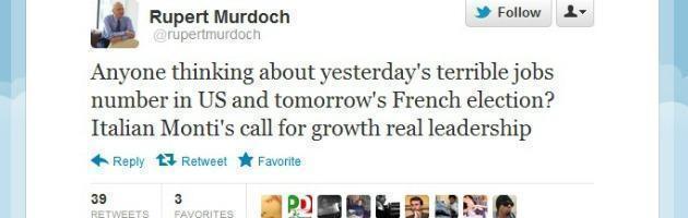 """Murdoch su Twitter: """"Monti, appello per la crescita segno di vera leadership"""""""