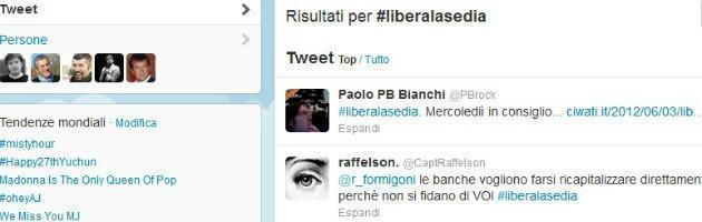 Lombardia, l'hashtag #liberalasedia per chiedere le dimissioni di Formigoni