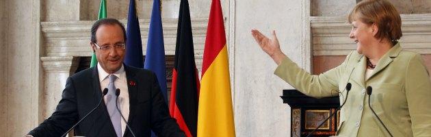 """Ue, vertice Merkel-Hollande: """"Ora unione monetaria, domani anche politica"""""""