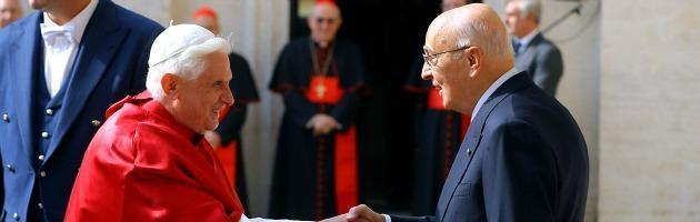 """Napolitano a Osservatore Romano: """"Ho scoperto una grande affinità col Papa"""""""