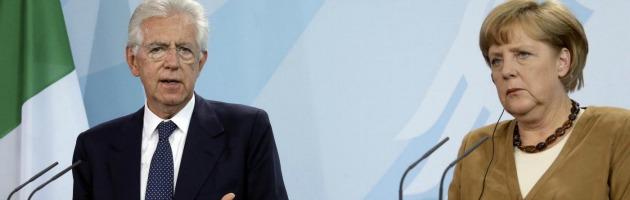 """Ue, l'unione bancaria già dal 2013. Monti, no a Merkel: """"No al supercommissario"""""""