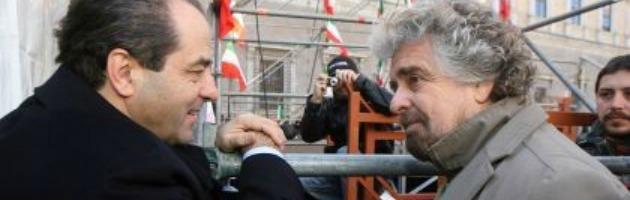 """Di Pietro tenta la mediazione tra i 5 Stelle: """"Casaleggio e Favia brave persone"""""""
