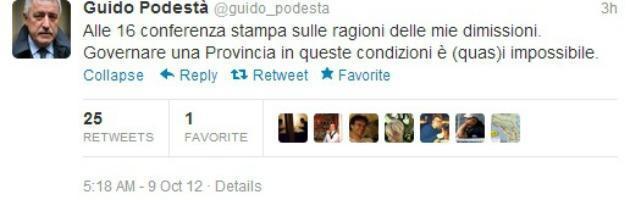 """Provincia di Milano, Podestà: """"Mi dimetto, non mi dimetto, non l'ho mai detto"""""""