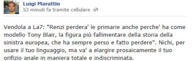 Scontro su Twitter, il fedele di Renzi e la frase omofoba contro Vendola