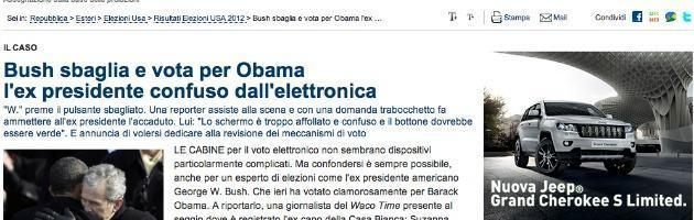 """""""Bush vota Obama per sbaglio"""": Repubblica.it rilancia, ma è satira"""