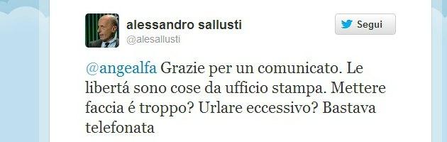 Sallusti contro Alfano, lite su Twitter per il comunicato di 'solidarietà'