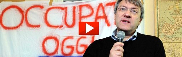 """Landini tra gli studenti che occupano: """"In piazza uniti contro la crisi"""" (foto e video)"""