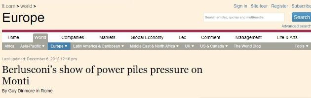 """Crisi di governo, Financial Times: """"Monti non si comprometta con Berlusconi"""""""