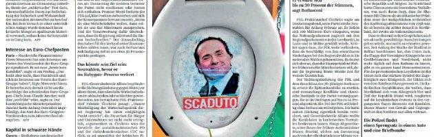 """Süddeutsche Zeitung, il volto di B. nella tazza del water. Titolo """"Ritorno a galla"""""""