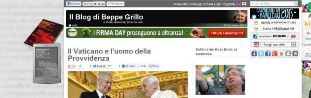 """Elezioni 2013, Grillo: """"Monti come Mussolini. Rivediamo i patti lateranensi"""""""