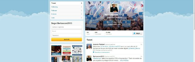 Berlusconi arriva su Twitter e in 24 ore i follower passano da 7mila a 70mila