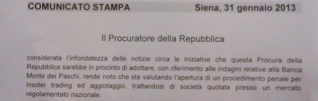 """Mps, procura Siena: """"Notizie infondate, indagini per insider trading e aggiotaggio"""""""