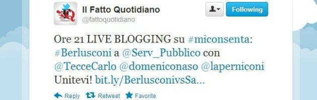 Berlusconi a Servizio pubblico, diretta twitter con l'hashtag #miconsenta