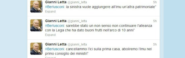 """Letta: """"Twitter, profilo fake dove dialogo con B."""". Ma si confonde con l'hashtag"""