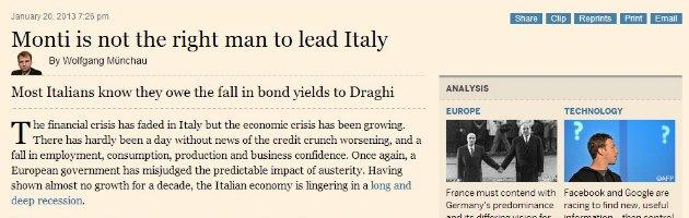 Financial Times contro Monti