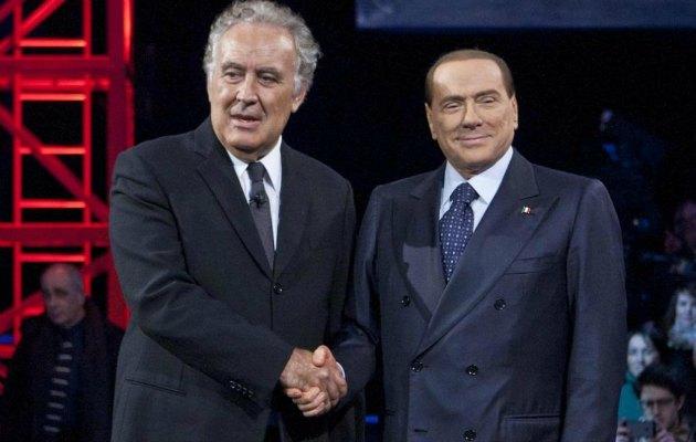 Santoro - Berlusconi stretta di mano