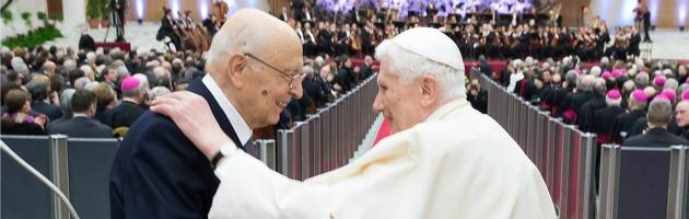 """Dimissioni Papa, Benedetto XVI riceve Napolitano: """"Pregherò per l'Italia"""""""