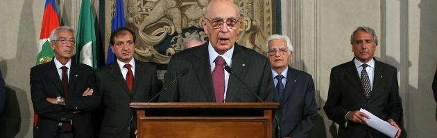 """Napolitano: """"Non mi dimetto. Proposte programmatiche da due gruppi ristretti"""""""