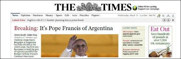 Nuovo Papa, la nomina di Francesco I in apertura di tutti i siti stranieri
