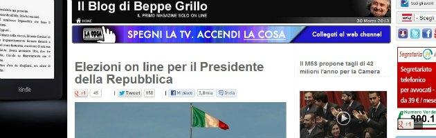 """Presidente Repubblica, Grillo: """"Voto online. Non sarà il 'tranquillo' di Pd e Pdl"""""""