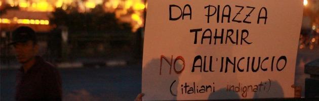 Napolitano, a piazza Tahrir gli italiani protestano per il secondo mandato