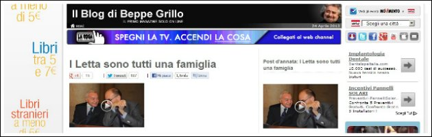 """Governo Letta, Grillo: """"Enrico e Gianni sono un'unica famiglia"""""""