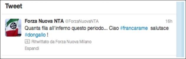 Twitter di Forza Nuova su Franca Rame