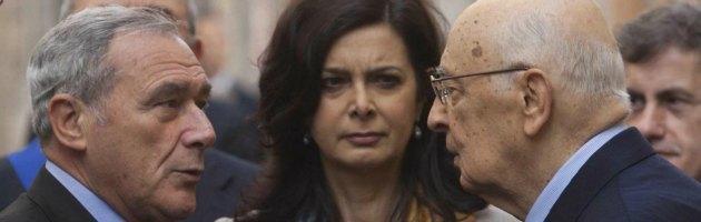 Piero Grasso, Laura Boldrini e Giorgio Napolitano