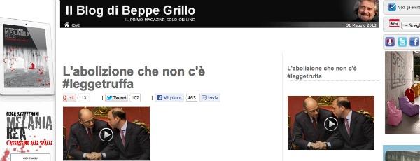 Partiti, Grillo lancia l'hashtag #leggetruffa su twitter. E scoppia la rivolta