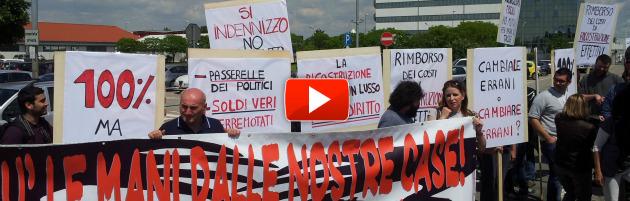 """Letta contestato a Mirandola: """"Più soldi ai terremotati, meno politici in passerella"""""""