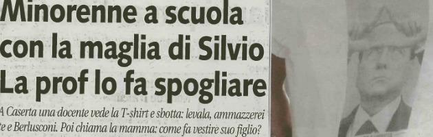 """Caserta, """"via t-shirt con Berlusconi a scuola"""". Pdl: """"Vergogna"""". Ma era uno sfottò"""