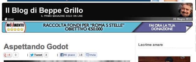 """Grillo lancia l'allarme default: """"Aspettando Godot l'Italia muore"""""""