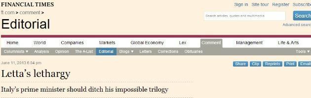 Financial Times su Letta