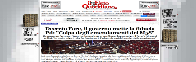 Homepage Fatto Quotidiano