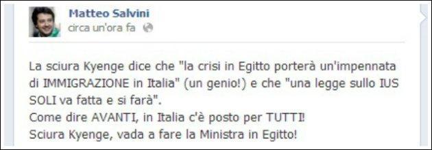 """Salvini su Facebook: """"Perché la sciura Kyenge non fa il ministro in Egitto?"""""""