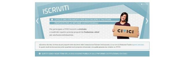 """Democrazia diretta, """"Civici"""": consultazione online per le riforme costituzionali"""
