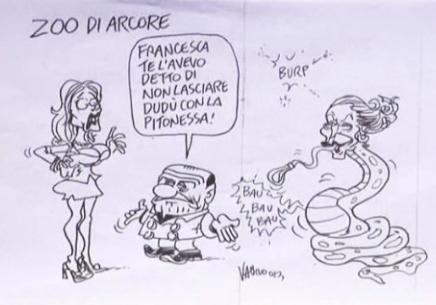 Servizio Pubblico, le vignette di Vauro: dalla pitonessa a Dudù
