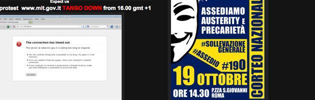 Manifestazione Roma, Anonymous oscura i siti web delle istituzioni