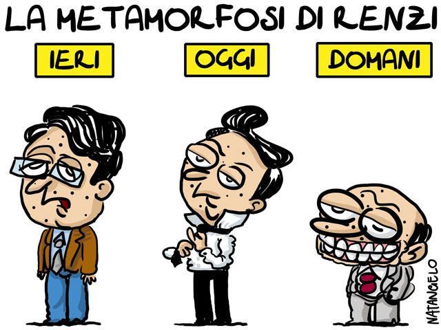 La vignetta del giorno: La metamorfosi di Renzi