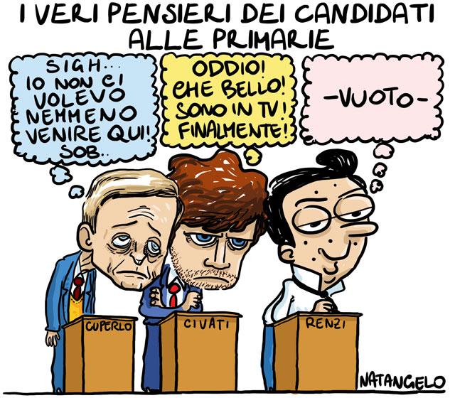 La vignetta del giorno: il vero pensieri dei candidati alle primarie Pd