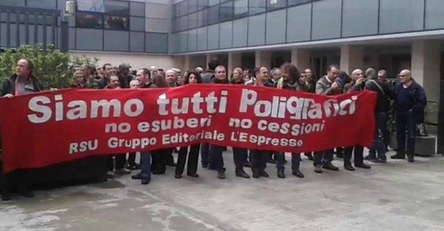 """De Benedetti, sit-in dei poligrafici del Gruppo Espresso: """"No a 69 esuberi"""""""