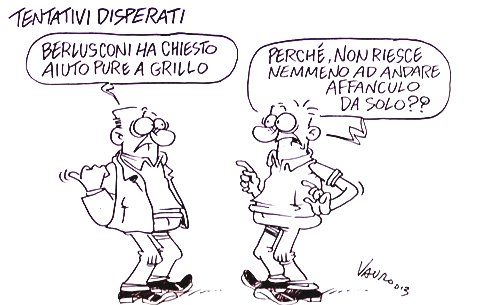 Servizio Pubblico, le vignette di Vauro sulla decadenza di Berlusconi