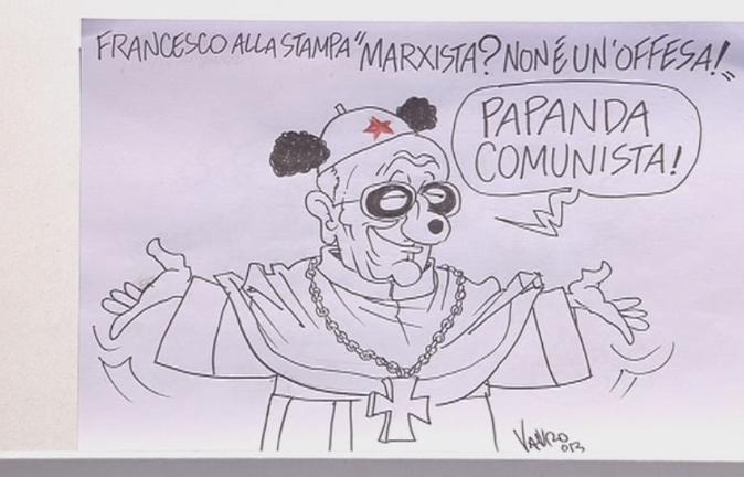 Servizio Pubblico, le vignette di Vauro: da Renzi a papa Francesco