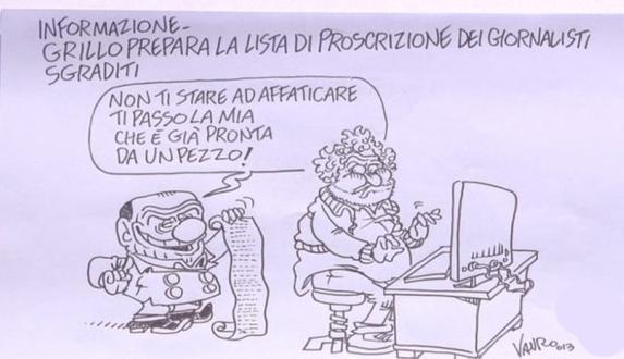 Servizio Pubblico, le vignette di Vauro: da Grillo ai Forconi