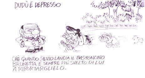 Servizio Pubblico, le vignette di Vauro: dalla depressione di Dudù al porcellum