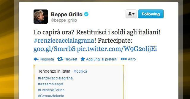 La polemica Grillo-Renzi rimbalza su Twitter: #beppefirmaqui contro #renzicaccialagrana