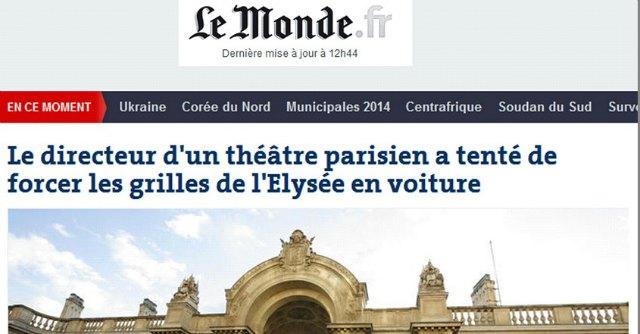 """Parigi, con l'auto contro l'Eliseo. """"Protesta di regista italiano per taglio fondi al teatro"""""""