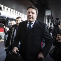 L'arrivo nella stazione di Roma Termini di Renzi dopo il viaggio sul Frecciarossa