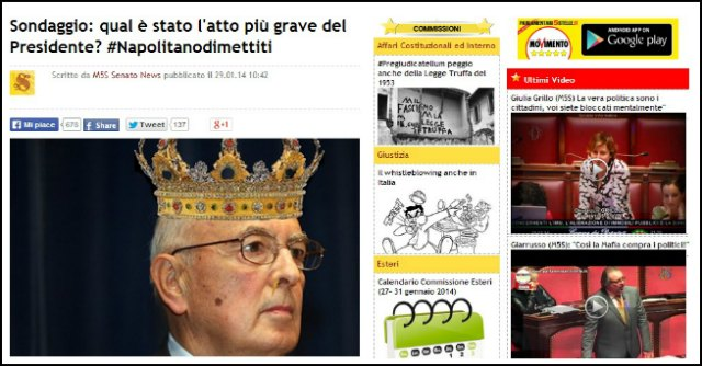 """M5S, sondaggio online: """"Vota l'atto più grave di Napolitano"""""""