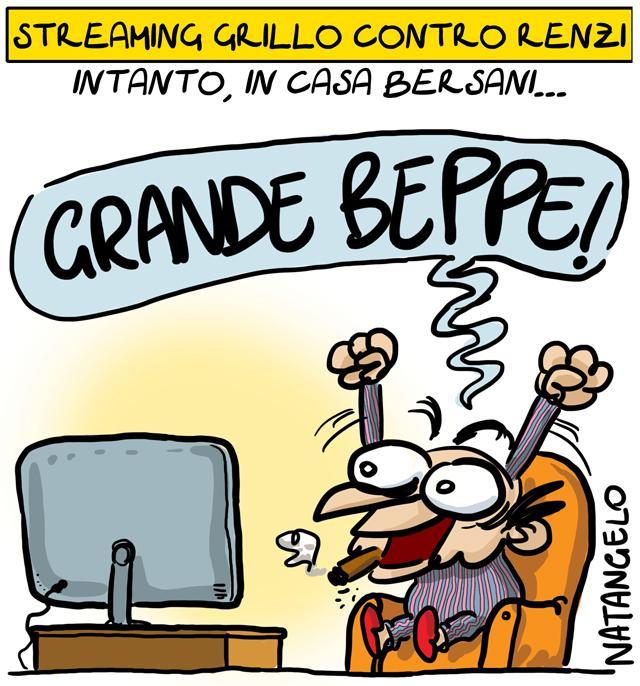 La vignetta del giorno: Lo streaming Grillo-Renzi
